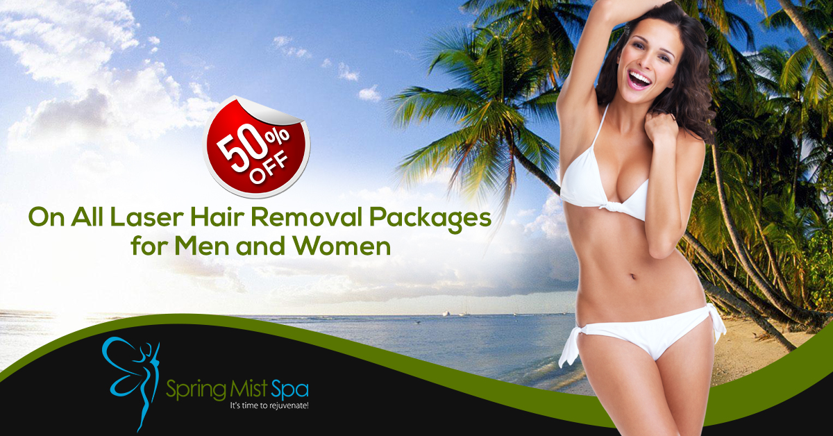 Save 50% - Laser Hair Removal Half Price Special Deal at Spring Mist Spa Milton.