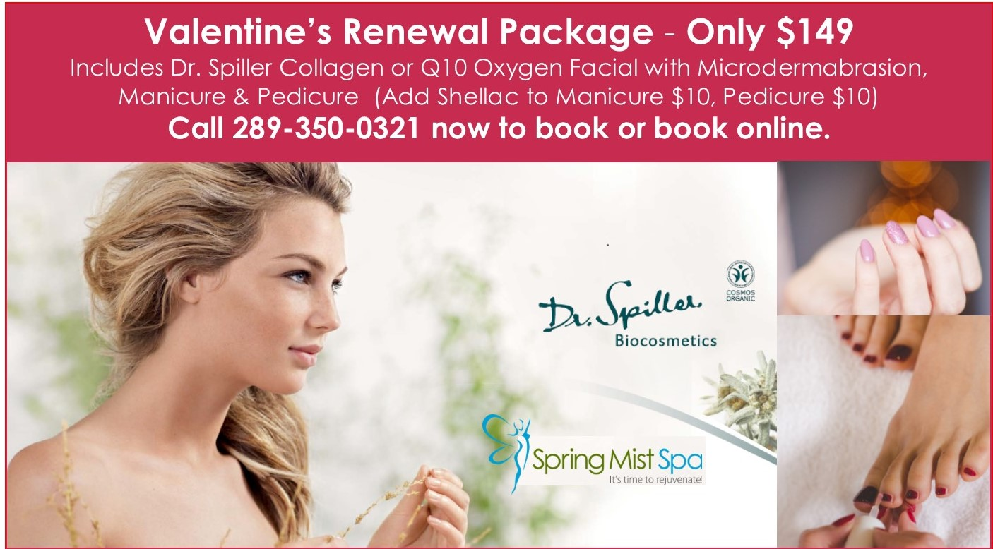 Spring Mist Milton Spa - Gift Cards and online instant gift certificates - Valentine's Day Renewal Package with facial, manicure and pedicure